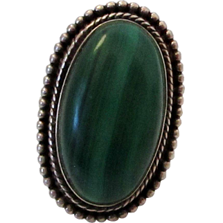 Sterling Silver Malachite Ring Vintage