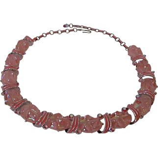 Pink Plastic Crimped Beads Enamel Choker Style Necklace Vintage