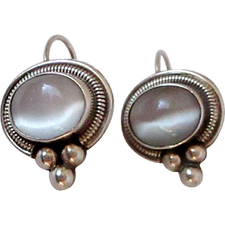 Sterling Silver Cat's Eye Moonstone Earrings Mexico Vintage