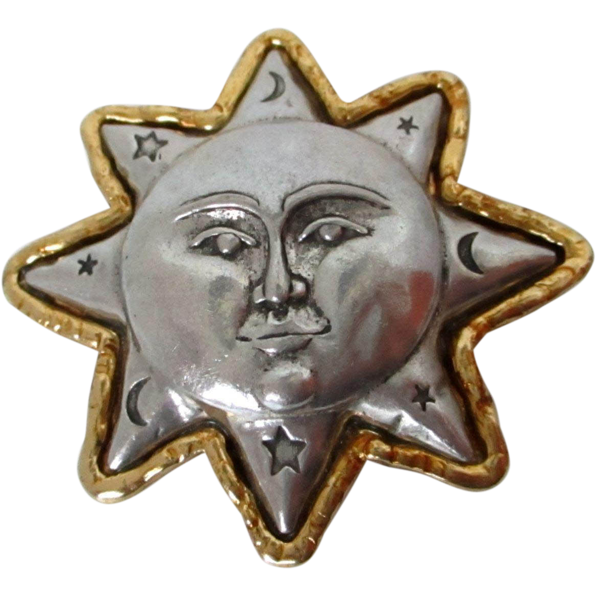 JJ Puffy Pewter Man in the Moon Star Brooch Vintage