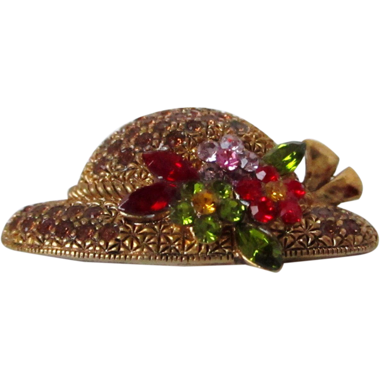 Spring Hat Rhinestones Marked Labelle Brooch Vintage