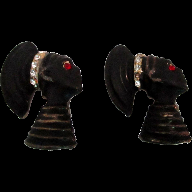 Pair of Blackamoor Pins Vintage