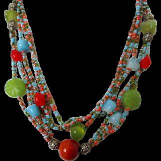 Glass Beaded Six Strand Necklace Vintage