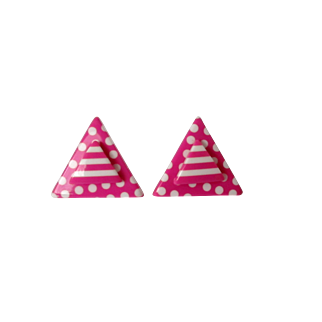 Mod Hot Pink Stripes Dots Triangle Earrings Vintage