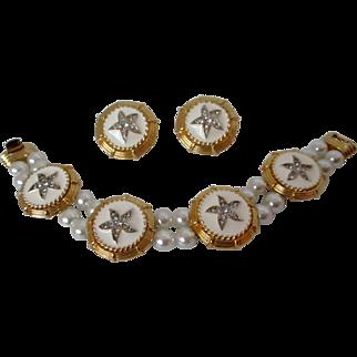 Nautical Themed White Enamel Faux Pearl Bracelet Earrings Vintage