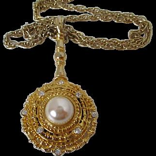 Park Lane Jeweled Mirror Magnifier Pendant Chain Vintage