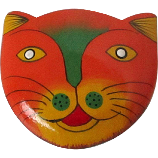 Happy  Face Cat Painted Wooden Brooch Vintage