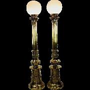 Pair of Antique Polished Bronze Belle Époque Torchiere Floor Lights