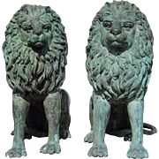Pair of Solid Bronze Seated Entry Lions