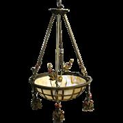 Antique Bronze Arts & Crafts Bent Slag Glass Chandelier
