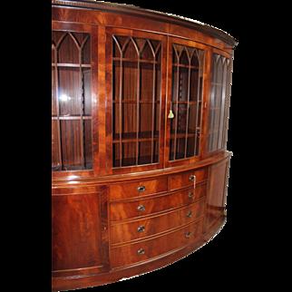 English Hepplewhite Demilune Bookcase Cabinet