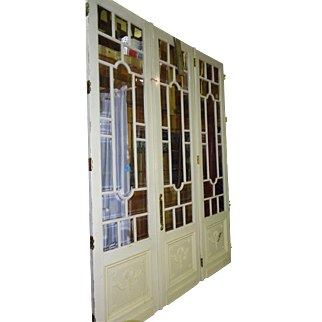 Antique Set of Three Parisian Style Painted Doors with Beveled Glass