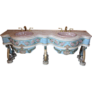 French Provincial Double Vanity Sink with Marble Top