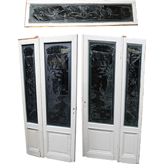 Antique French Art Nouveau Etched Glass Entry Set: Doors, Sidelights & Transom