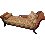 1880s Carved Victorian Fainting Couch, Restored & Reupholstered