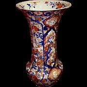 Large Antique Imari Porcelain Beaker Vase, Meji Era