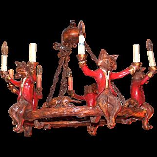 Bill Huebbe Ten Light Chandelier: Hounds with Five Sitting Foxes