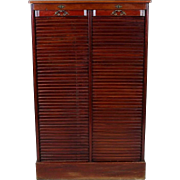 Antique French Mahogany Haberdashery Filing Cabinet, Double Tambour Front