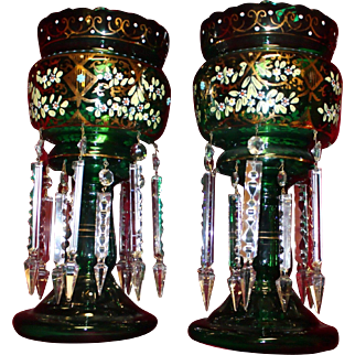 Antique Hand-Painted Green Glass Lusters with Hanging Crystals