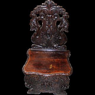 19th Century Sgabello Chair, Italian Baroque
