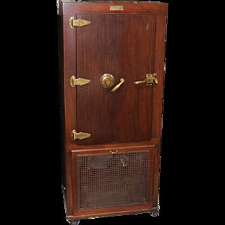 Rare 1940's Kelvinator Refrigerator & Combination Safe with Mahogany Cabinet