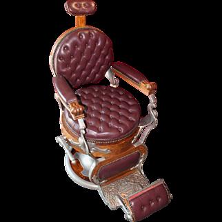 "Custom Koken Circa 1900 ""Congress"" Model Rounded Seat Wood Barber Chair"