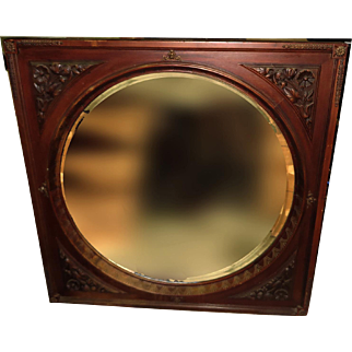 19th Century American Eastlake Round Beveled Mirror with Carved Frame
