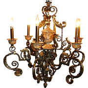 Maitland Smith Brass and Iron Chandelier