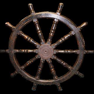 Massive Antique Wood & Iron Ship's Helm Steering Wheel