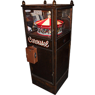 Handmade McCoy 30 Horse Musical Carousel in Tall Glass & Oak Case, Coin Operated