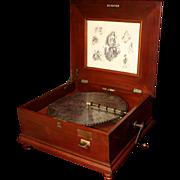 """Penny-Operated Regina Mahogany Music Box with Ten 15 1/2"""" Discs"""