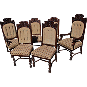 Set of Six 1920's Heavily Carved Neo-Renaissance Chairs, Restored & Upholstered