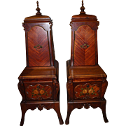 Pair of Painted Mahogany Victorian End Tables with Top Hutches- Restored