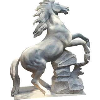 Carved White Marble Rearing Stallion Sculpture