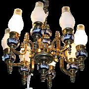 Vintage Brass & Cobalt Blue Porcelain Chandelier, Wedgwood Gaslight