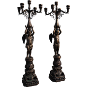 Pair of French Empire Style Bronze Cherub Torchieres - Electrified Floor Candelabras