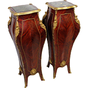 Pair of Louis XV  Marquetry Pedestals with Marble Tops & Ormolu
