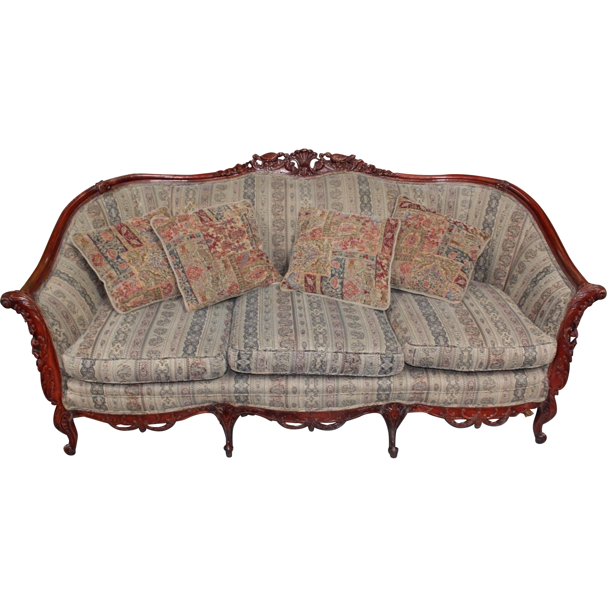 Antique Naturalistic Rococo Revival Style Rosewood Sofa With Four From