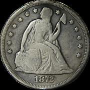1872 Seated Liberty Dollar Coin