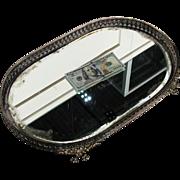 Antique Vintage Silver Plate Bronze Mirror Plateau Tray 19th Century