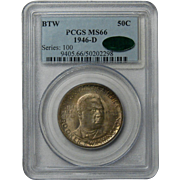 Booker T Washington Commemorative Half Dollar 50C PCGS MS66 1946-D TONED CAC