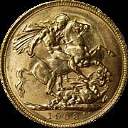 1908 Edward VII Perth Mint British Gold Sovereign Coin