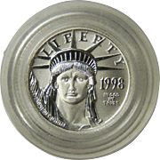 1998 Ten Dollar Platinum Eagle $10 Coin Mint Capsule
