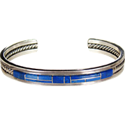 Very Nice Sterling Lapis Lazuli Inlaid Native American Cuff Bracelet