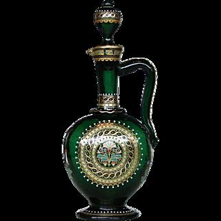 19th Century Signed Lobmeyr Bohemian Enameled Gilt Persian Glass Decanter