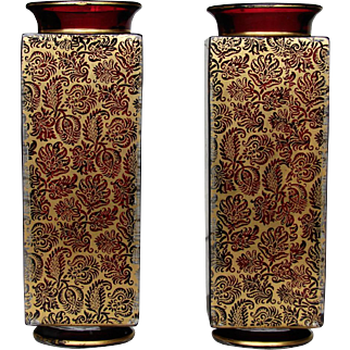 Pair 19th Century French Baccarat Art Glass Vases Chinoiserie Asian Persian