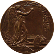 Antique Art Nouveau Bronze Medal