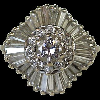 1.26 ctw 14k White Gold Diamond Ballerina Ring
