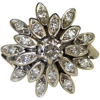 .44 ctw 14k White Gold Diamond Deco Ballerina Ring