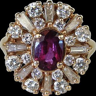 1.16 ctw 14k Yellow Gold Spinel & Diamond Ballerina Cocktail Ring